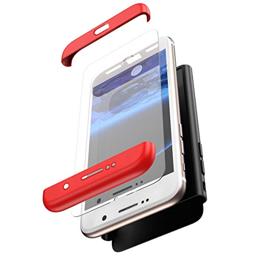 (PHEZEN Compatible Galaxy S7 Edge Case,360 Full Body Protective Rugged Case with Tempered Glass Screen Protector Shockproof Anti-Scratch Hard PC Bumper Back Case for Samsung Galaxy S7 Edge,Red Black)