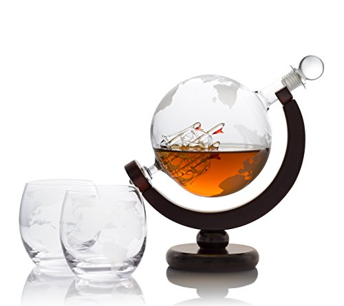 Whiskey Decanter Globe Bar Set With Antique Ship - 2 Etched Bourbon Glasses and Bar Funnel - 850ml - Perfect Gift For Bourbon Scotch Rum Wine Lovers by TopBar