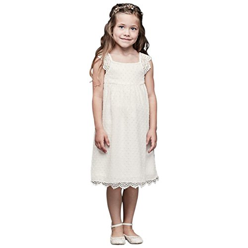 Swiss Dot Flower Girl/Communion Dress with Crochet Trim Style B31133DV, Ivory, 6X