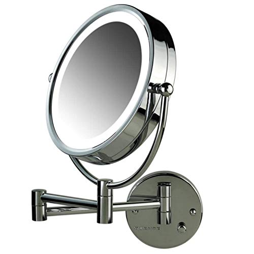 Ovente Lighted Wall Mount Mirror, 8.5 Inch, Dual-Sided 1x/7x Magnification, Hardwired Electrical Connection, Natural White LED Lights, 9-Watts, Polished Chrome - Mercury Wall Vanity