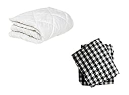 BKB Cradle Mattress Protector and 2 Gingham Sheets Combo, Black, 18 x 36\