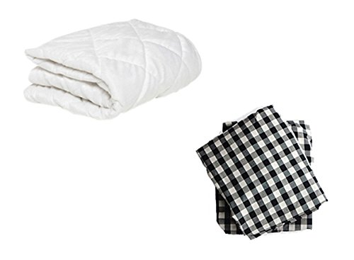 BKB Cradle Mattress Protector and 2 Gingham Sheets Combo, Black, 18 x 36''