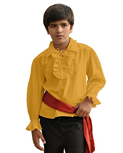 ThePirateDressing Kids Pirate Medieval Renaissance Medieval Cosplay Costume 100% Cotton Captain Kennit Shirt C1255 (Gold) -