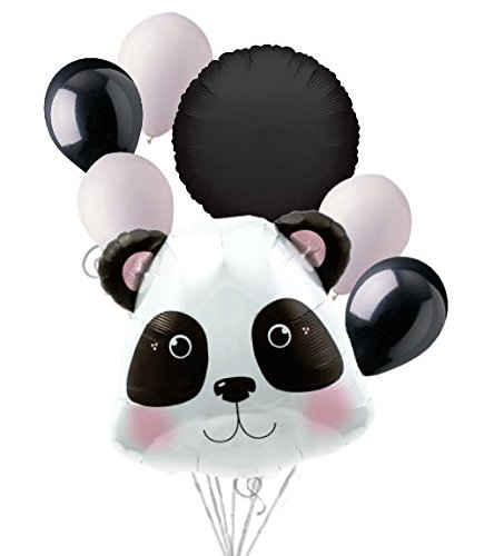 Price comparison product image 7 pc Cute & Cuddly Panda Bear Balloon Bouquet Party Decoration Jungle Birthday