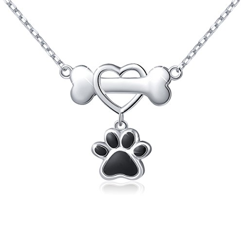 925 Sterling Silver Forever Love Heart Dog Bone with Puppy Paw Pendant Necklace for Women, 18
