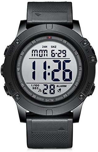 GOLDEN HOUR Men's Digital Sport Watches Waterproof Military Tactical Style with LED Backlight Rubber Strap Big Face Watch for Men