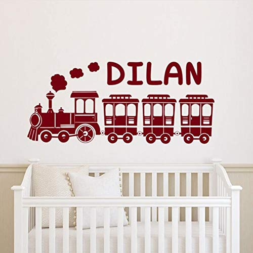 - TWJYDP Wall Sticker Wallstickers Personalized Train Wall Decal Customized Boys Name Nursery Decoration Train Custom Name Wall Vinyl Mural,Finished Size 22X9In(57X25Cm)