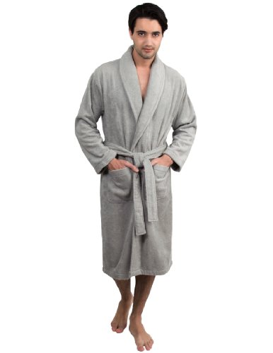 TowelSelections Men's Robe, Turkish Cotton Terry Shawl Bathrobe Large/X-Large Silver Grey