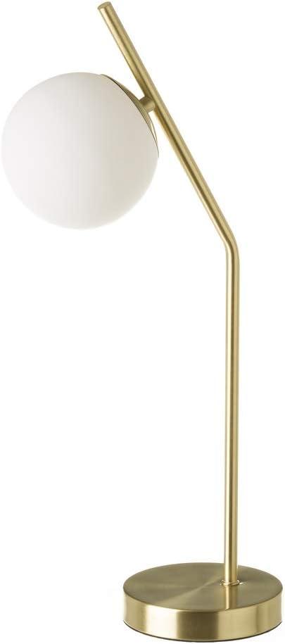 Lámpara de mesa con tulipa de bola vintage de metal y cristal dorada, de ø 22x13x50 cm - LOLAhome: Amazon.es: Iluminación