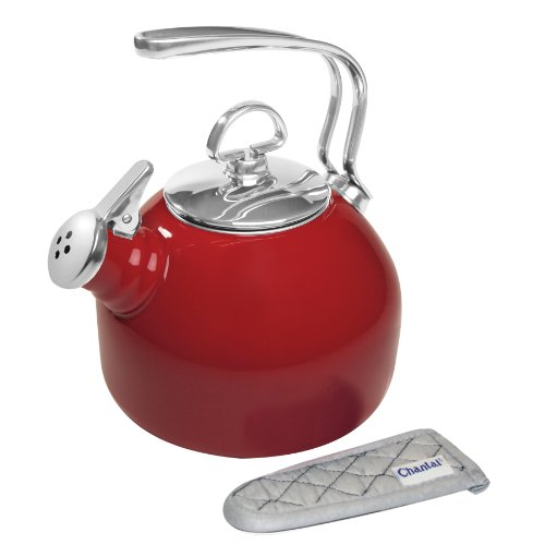 Red Classic Kettle - Chantal Enamel on Steel Classic Teakettle, Chili Red