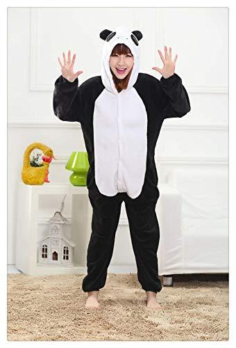 Women Pajamas Halloween Adult Animal Flannel Sleepwear Pajamas Set Pikachu Stitch Unicorn Panda Cartoon Hooded Pajamas Panda S