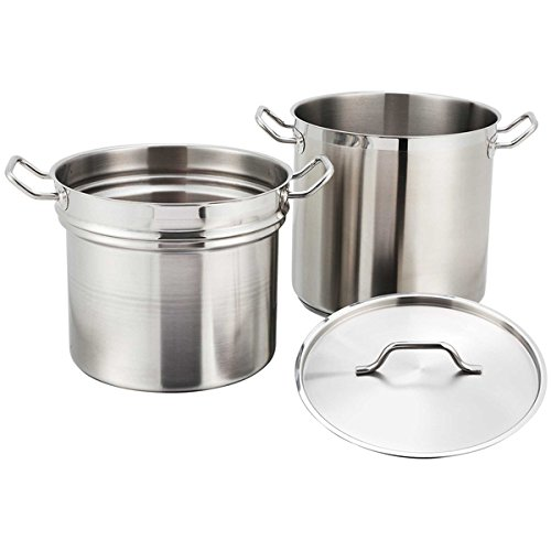 (Winco SSDB-8, 8-Quart Commercial Grade Stainless Steel Double Boiler With Cover, Double Sauce Pan with Lid, NSF)