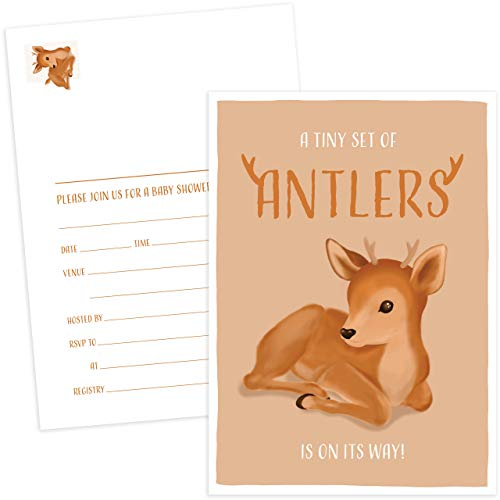 Camo Baby Shower Invitations (Paper Kit Co. Tiny Antlers Baby Boy Shower Invitation Postcard | 50 Pack. Blank Invites with No Need for Envelopes. Bulk Set with Oh So Cute Deer | Buck for)