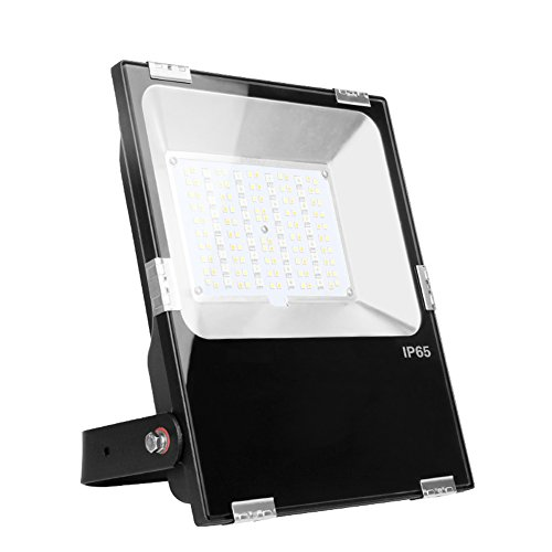 Mi.Light 50W RGB+CCT Outdoor Waterproof Landscape Lighting 2.4G WiFi Smart LED Flood Light Fixture AC85-265V Color Changing,2700-6500K Color Temperature Adjustable(Wireless 2.4G RF Remote Not Include)