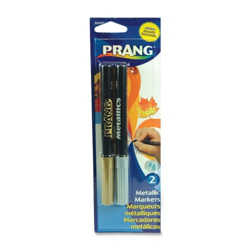 Prang Metallic Markers, Bullet Tip, 2 Color Set, Silver and Gold (80597)