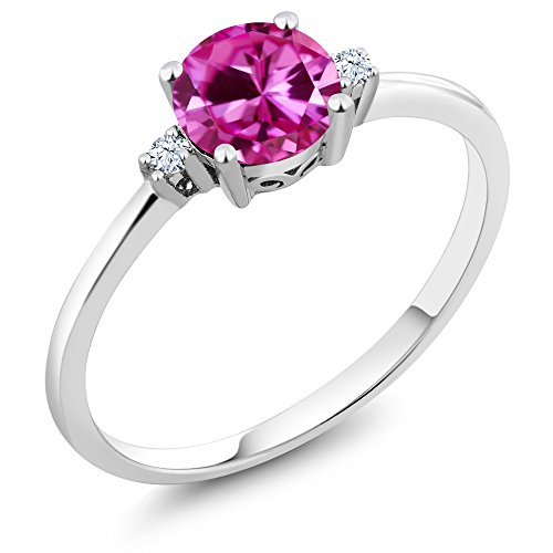 Pink Sapphire White Gold Jewelry Set - Gem Stone King 10K White Gold Engagement Solitaire Ring set with 1.03 Ct Round Pink Created Sapphire and White Created Sapphires (Size 7)