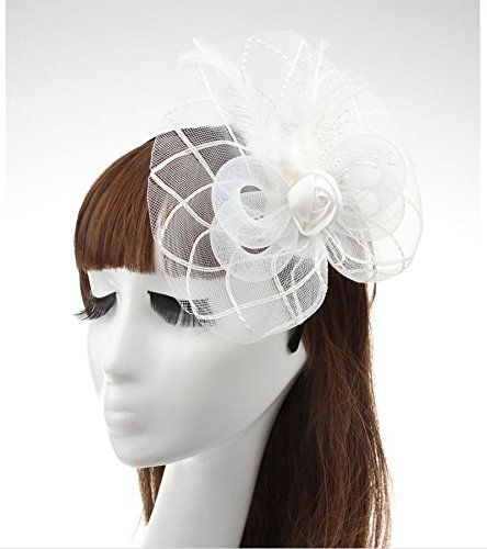 White Big Flower Mesh Feather on Hair Clip Headwear Fascinator,Wedding Headwear Bridal Headpiece for Women (White)