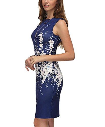 mangas la recto vestido de sexy playa de noche Vestido mujer verano para florales; Yieune para vestido sin de motivos Azul con hermoso 4gIqP