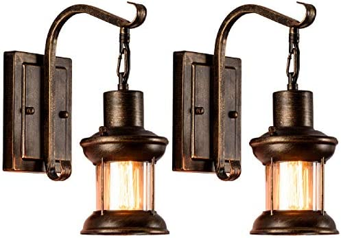 Vintage Glass Wall Sconce Fixtures 2-Pack MOONKIST