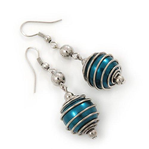 Boucles d'oreilles pendants fausse perle vert foret ton argenté - pendant 5,5cm