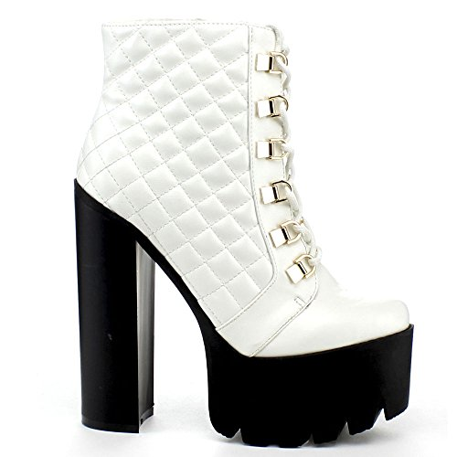 WHITE Side ROCKER17 Boot 6 Toe Womens Chunky Platform Zipper Round BUMPER Ankle Up Color Lace Size wYqOPFBqxd