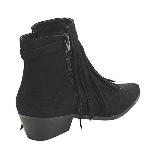 Fringe Zipper Low Booties Heel LABEL AE32 C Black Buckled Block Ankle Womens Dress pwBHqnIxt