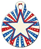Patriotic Star - Custom Pet ID Tag for Cats and Dogs - Dog Tag Art - LARGE SIZE