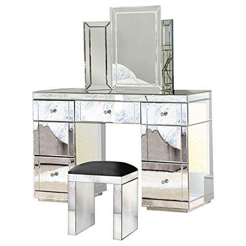 Glass Mirrored Furniture Dressing Table With Drawer Console Bedroom With  Bevelled Mirror and Stool