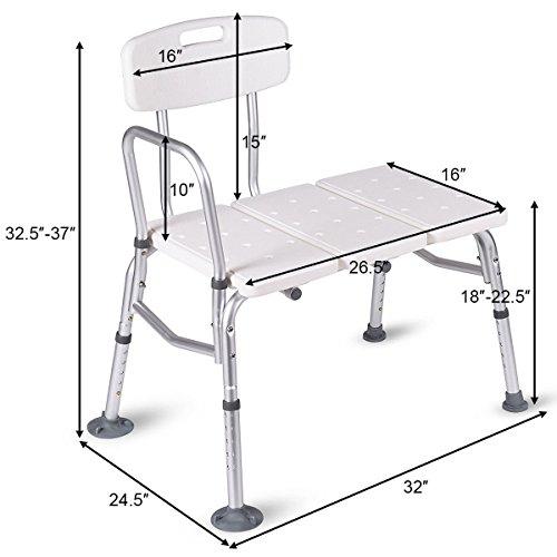 Giantex Shower Bath Seat Medical Adjustable Bathroom Bath Tub Transfer Bench Stool Chair by Giantex (Image #7)