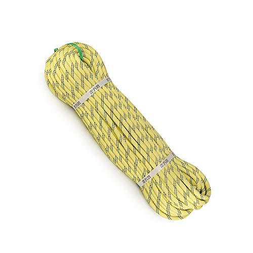 三角形ジーンズ政府クライミングロープ耐摩耗スタティックロープラペリングロープ高温耐炎難燃剤ロープ9mm / 10.5mm直径 (色 : 黄, サイズ : Diameter 9 mm/10 M)