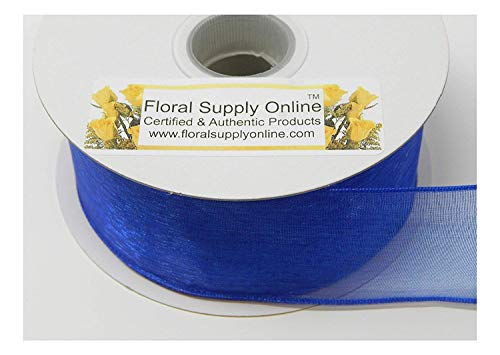 #9 Wired Edge Sheer Organza Ribbon for Floral, Fashion, Craft, Scrapbooking, Gift Wrapping, Hair Bows, Wedding, Baby Shower, and Decorating Projects. 1-1/2 Inch x 25 Yard, Royal)