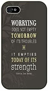 Worrying does not empty tomorrow of its troubles - Corrie Ten Boom - Bible verse IPHONE 5C black plastic case / Christian Verses