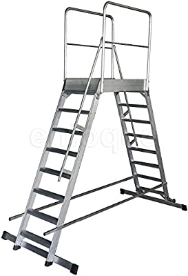 Escalera profesional de aluminio móvil dos accesos con plataforma ...