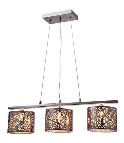 Whse of Tiffany 1429-3L Avery 3 Light Chrome Crystal Pendant Lamp, 28