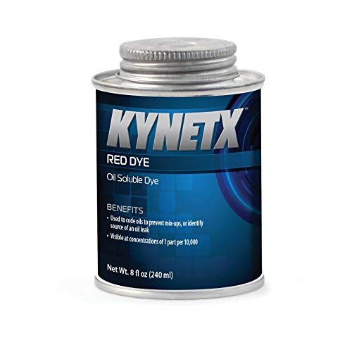 Power Steering Dye - Kynetx Red Dye, Concentrated Oil Soluble Dye Additive, 8 fl. Oz. Can, KN9024, Ideal for coding oils to prevent mix-ups or identify the source of an oil leak. Visible at 1 part per 10,000.