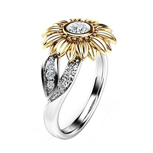 Womens Girls Pretty Faux Crystal Rings Set AfterSo Fashion Exquisite Two Tone Gold Sunflower Sliver Round Zircon Ring Anniversary Cocktail Jewelry Romance Gift for Her / Girlfriend (6, Sliver - Gold) (Sunflowers Swarovski)