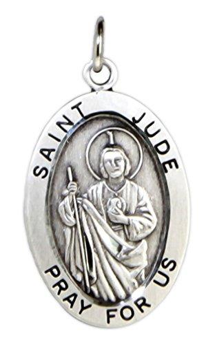Men's Saint Jude Sterling Silver Oval Pendant - Pendant Only