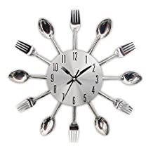 3D Removable Modern Creative Cutlery Kitchen Spoon Fork Wall Clock Mirror Wall Decal Wall Sticker Room Home Decoration (Sliver)