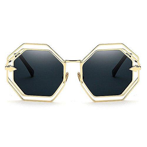 mujer Gafas Frame Vacaciones Color sol de Protección Beach Negro de Polygon Negro conducir Metal libre aire Gafas de sol UV al Graceful Summer para 4qxC0wE