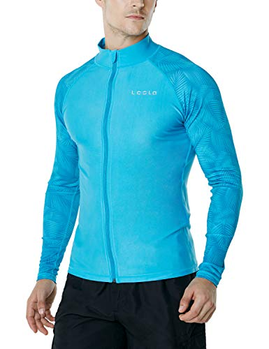 - TSLA Men's UPF 50+ Zip Swim Front Long Sleeve Top Rashguard, Sleeve Print(msz13) - Sky Blue, XX-Large