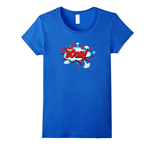 Female Comic Book Costumes (Womens Comic Book BOOM Shirt, Funny Retro Costume, Superhero Gifts Small Royal Blue)
