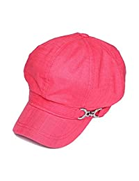 Womens Newsboy Hat w/ Chain Clip - Rose