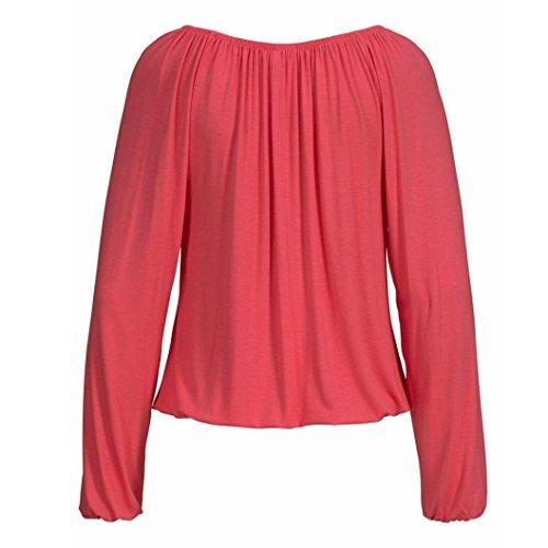 manga OverDose blusas tallas tops sólido V Rojo para larga cuello camisetas mujer grandes bowknot xUxqwnTp