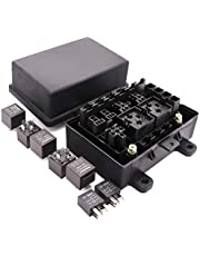 Waterproof Fuse Relay Box with 7 Relays and 10 Fuses for Automotive and Marine, 9-Slot Blade Fuse Holder Fuse Box(3 Reserved),7-Slot Bosch Style Relay Holder,5-Slot Socket for Jeep Boat Car Or Truck