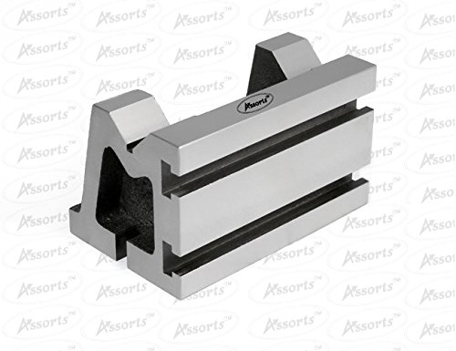 "QUALITY PRECISION GRADED CASTE IRON VEE ANGLE PLATES-STRESS RELIEVED - WORK-HOLDING CLAMPING MILLING ENGINEERING MACHINE TOOLS-HEAVY DUTY (3"" x 3"" x 5"" (75 x 75 x 125 mm) T-Slotted)"