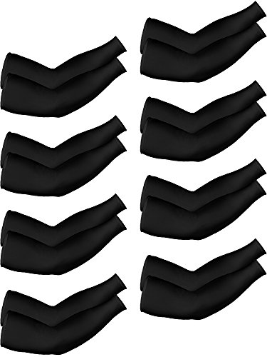 Mudder 8 Pairs Unisex UV Protection Arm Cooling Sleeves Ice Silk Arm Cover (Black)
