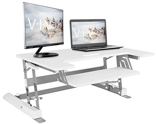 VIVO White Height Adjustable 36 inch Standing Desk Converter   Sit Stand Tabletop Dual Monitor and...