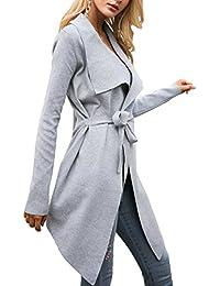 Women's Open Front Knit Cardigan Coat Long Sleeves Sweater with Belt