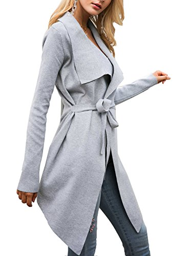 Glamaker Women's Open Front Knit Cardigan Coat Long Sleeves Sweater With Belt Gray -