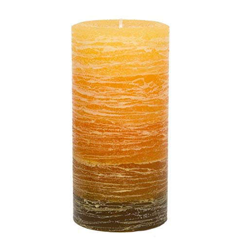 "Nordic Candle - Layered Pillar Candle - 3x6"" Orange to Brown Layered - Unscented ()"